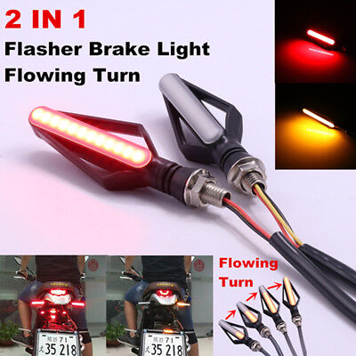 2 Pair 3 In 1 Front DRL Brake Flowing Turn Signal Indicator Lights Lamp Replace