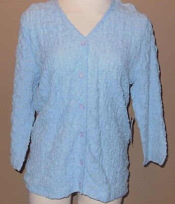 893f8be504 Traditions Great Northwest Womens Light Blue VNeck Button Front Blouse Top  Small