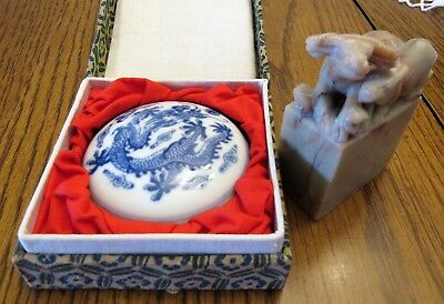"""Vintage Soapstone Stamp w/Ox & Baby on Top of Pillar & Stamp At Bottom 3.25"""" T."""