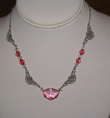 Vintage Art Deco Rhodium Plated Drop Necklace W Pretty Pink Crystal Stones
