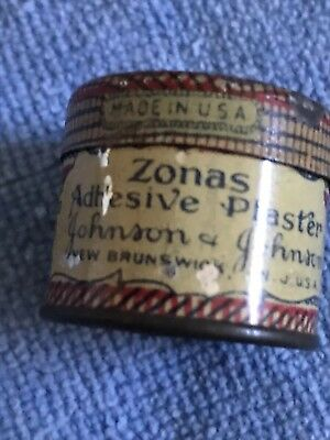Antique tin labled Zonas Adhesive Plaster by Johnson & Johnson