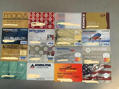 16 Vintage credit cards Visa, Mastercard, Discover, Airlines, Department Store