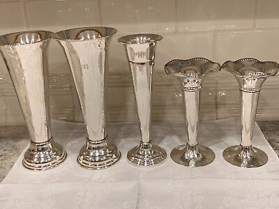 Lot of 5 Vintage SILVER PLATE Trumpet Vases.   Excellent Condition.