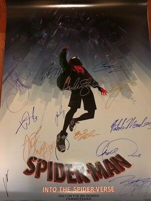 Spider-Man: Into The Spider-Verse DS Movie Poster CAST SIGNED Premiere Autograph
