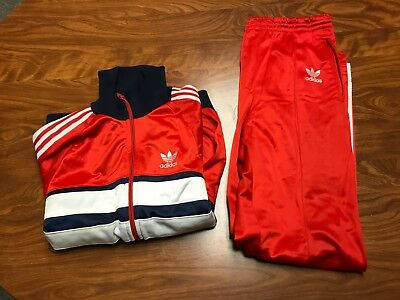 Mens Vintage 70's Adidas Trefoil Red Matching Track Running Suit Jacket Size S/m