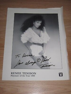 1990 Playboy Playmate Of The Year Renee Tenison Signed 8x10 Photo/Free Ship!