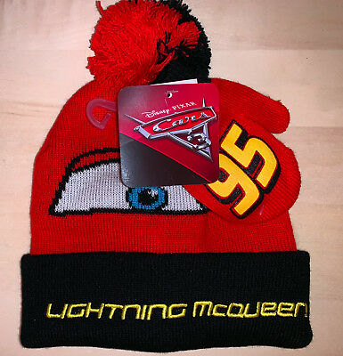 New! Disney Boys' Toddler Cars Lightning McQueen Beanie Hat and Mittens red/blk