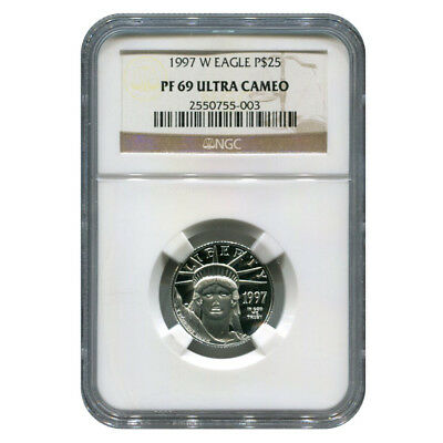 Certified Platinum American Eagle Proof 1997-W Quarter Ounce PF69 NGC