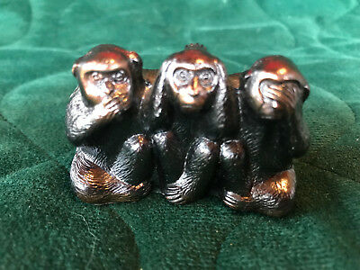 Three Wise Monkeys Miniature Figurine - Heavy Metal - See No Evil...
