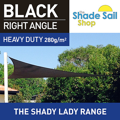 Shade Sail 5x5x7.07m Right Angle Triangle Black 280gsm  strong 5 x 5 x 7.07m