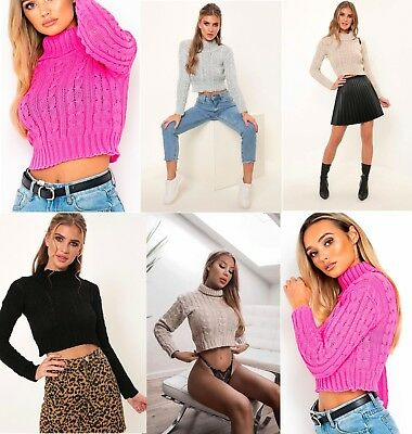 Womens Stretch Roll Polo Neck Jumper Ladies Cable Knit Cropped Knitted Crop Top