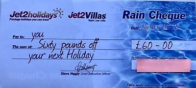 10 x latest New Jet2Holidays £60 Rain Cheque voucher Valid until March 2020!!