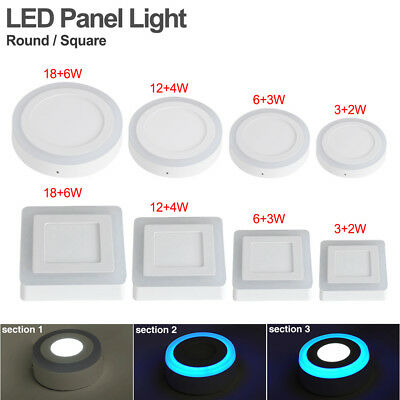 Dual Color Acrylic LED Surface Ceiling Panel Down Lights For Office Kitchen