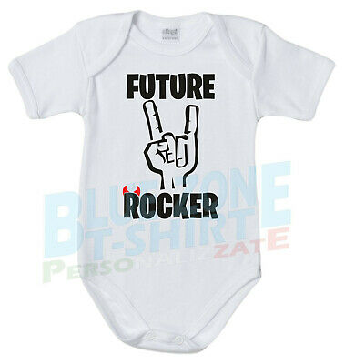 Body Neonato Future Rocker Divertente Futuro Rock Musica Bimbo Bimba Heavy Metal