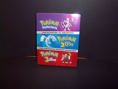 Pokemon 1-3 Movie Collection Blu-Ray Limited Edition Steelbook 2000 1 2 3