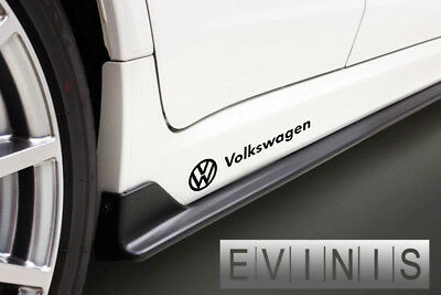 VW VOLKSWAGEN 2x Side Skirt LEFT RIGHT Stickers Car Decals Graphic DEFAULT BLACK