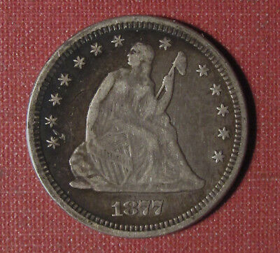 1877 Seated Liberty Quarter - Full Liberty, Attractive Toning, Please View