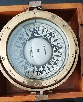 Vintage Antique Maritime Marine Boat Ship Compass Wooden Box E.S. Ritchie & Sons