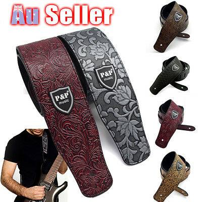 Acoustic Classic PU Leather Electric AU Guitar Strap Soft Basses Luxury