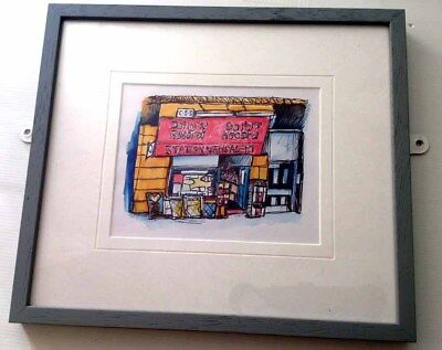 Watercolour Drawing Framed Station News Original Ink Glasgow City Town Scotland.