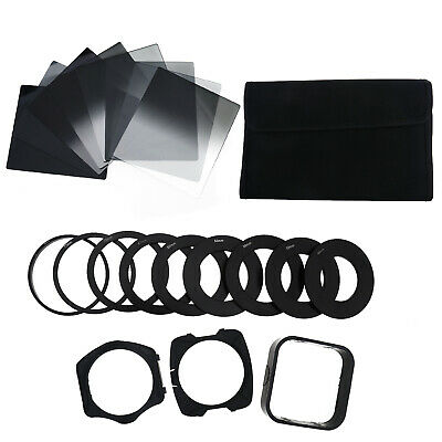 Full+Graduated ND 2 4 8 Filter Set+9 Metal Adapter Ring + Holder For Cokin P