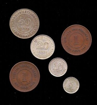 Straits  Settlement & Malaya 1,5,10,20 & 50 Cent Lot Of 6 Coins