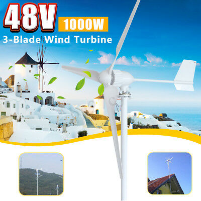 48V MAX 1050W 3 Blades Powered Wind Turbine Generator Home Auto Aerogenerator