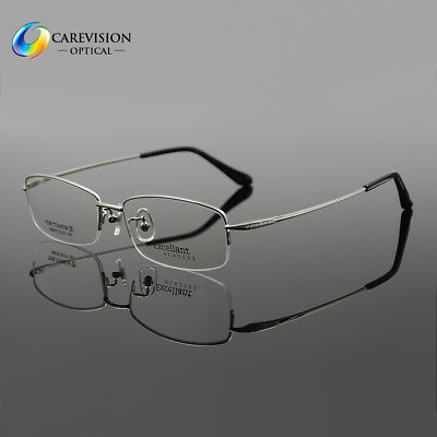c7f0bcdf5a Business Men s Pure Titanium Half Rimless Eyeglasses Frames Optical RX Able