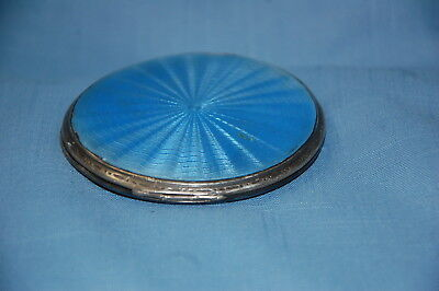 Art Deco Ladies Silver Compact with Blue Enamel Engine Turned Lid