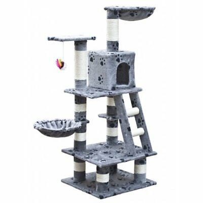 VidaXL Cat Tree Scratcher Post Cat Toy Bed Furniture Plush 122 cm Grey Pawprints