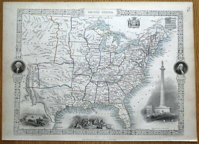 UNITED STATES OF AMERICA, USA, Rapkin & Tallis original antique map 1851