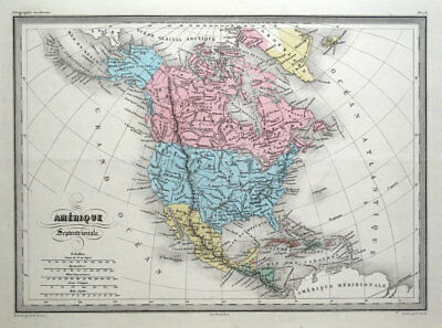 NORTH AMERICA, CANADA, USA  Malte Brun antique map c1850