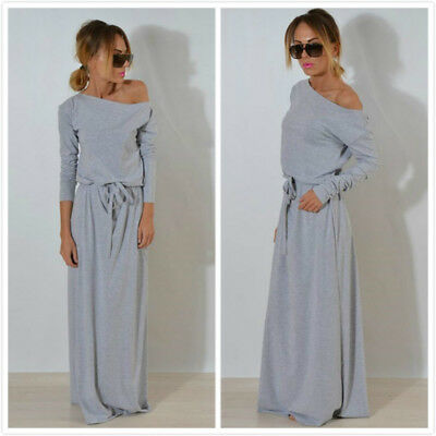 Autumn Loose Casual Long Sleeve Maxi Dress Slash Neck Sashes Women Dresses B