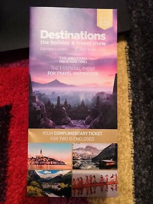 2 tickets to Destinations Holiday & Travel Show (Olympia London, 31 Jan - 3 Feb)