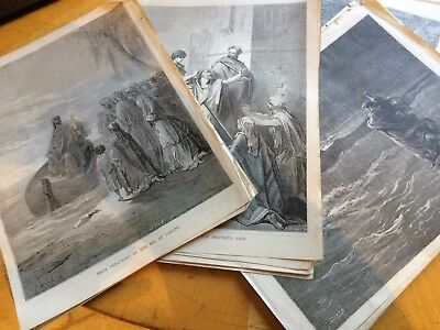48 ANTIQUE BIBLICAL PRINTS BY G. DORE FROM AN 1850's BIBLE