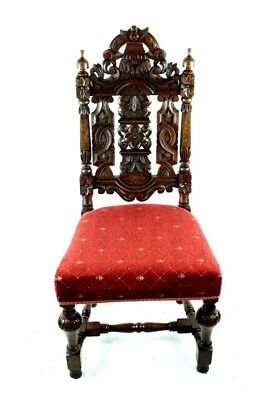 Antique Jacobean Oak Side Chair 19C - FREE Shipping [PL4828]