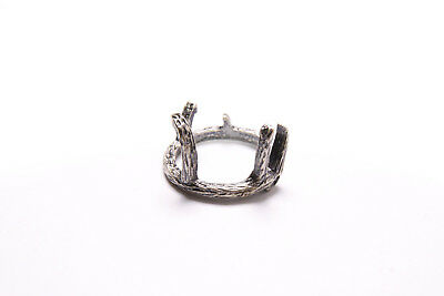 Beautiful Ladies Deer Antlers Style Design Textured Dark Silver Thin Ring (T293)