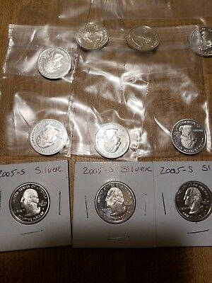 3 sets 2004 s,2005 s,2006 s Silver US Mint 50 State Quarters Proof Sets 15 coin