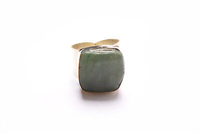 Beautiful Antique Style Boho Ladies Gold Wide Ring with Light Green Stone (T293)