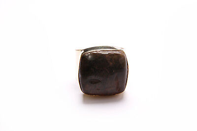 Beautiful Antique Style Boho Ladies Gold Wide Ring with Dark Brown Stone (T293)