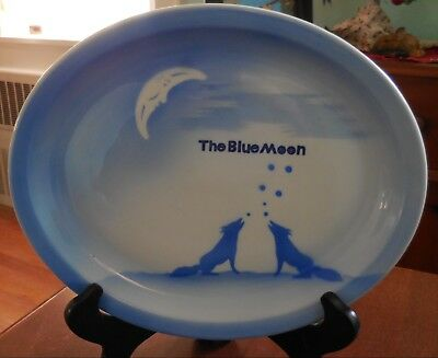 """Rare Airbrushed 11.5"""" oval platter wolves howling at """"The Blue Moon"""" by Jackson"""