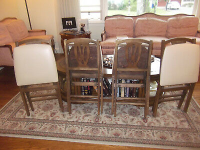 Stakmore Folding Chairs Lot 4 Wooden Vinyl Nice Dark Wood