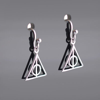 f517ca4f9 DEATHLY HALLOWS Earrings From Harry Potter - Base Metal 925 Sterling Silver