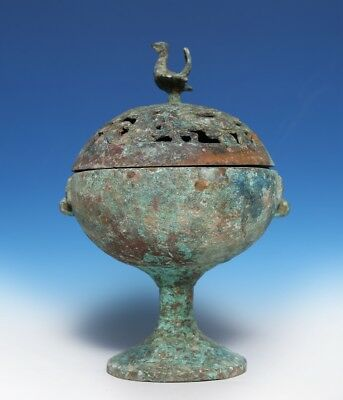 Rare Chinese Han Dynasty Censer Bronze Ritual Old Incense Burner With Cover CS79