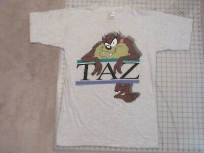 Vtg 1996 TAZ Front & Back T-SHIRT Mens MED 2-Sided Ash Grey Tasmanian Devil 90s