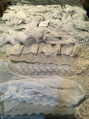 24/26 yds Lace flounces ,Trim,Edging,Insertions,Tape laces.Early 20th C Fine Lot