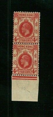 ( HKPNC ) HONG KONG 1921 KGV 4c PAIR WITH BROKEN KONG VARIETY VF UM TONING GUM