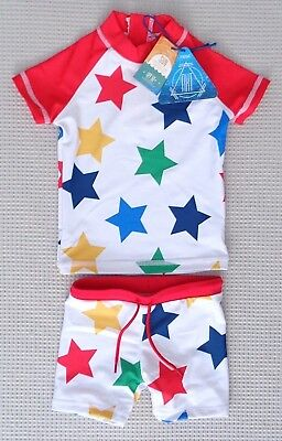 BNWTS NEXT Baby Boys Red Stars Two Piece UPF50+ Sunsafe Swimming Suit 3-6months