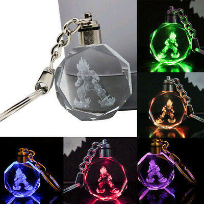 1Pc Dragon Ball Z Super Saiyajin Goku Crystal LED light Pendant Keychain
