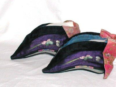 Antique Chinese Purple Silk Bound Foot Lotus Shoes Embroidery Flower Blossom